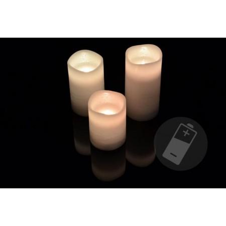 3 ks umělá svíčka se svítící LED diodou, bílá