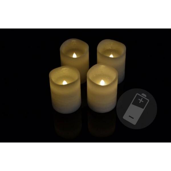 4 ks umělá svíčka se svítící LED diodou, bílá