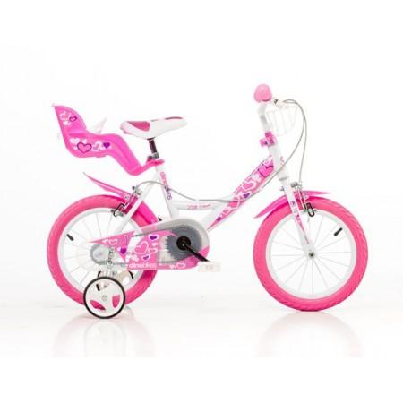 Dětské dívčí kolo 16 s nosičem a košíčkem, růžové
