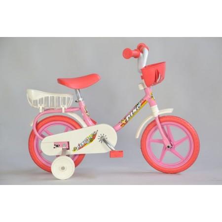 Dětské kolo 10 s košíčkem na řidítkách a nad zadním kolem, růžové