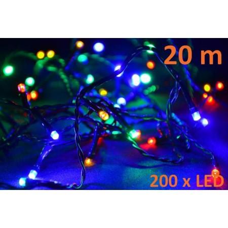 Vánoční osvětlení - LED řetěz barevný, venkovní / vnitřní, 20 m