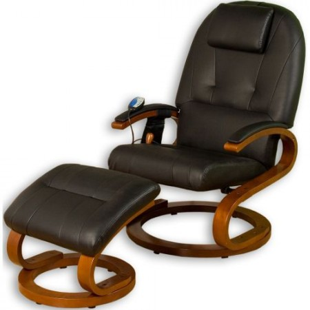 Relaxační a masážní křeslo s podložkou pod nohy, černé