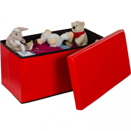 Složitelná lavice s měkkým polstrováním, červená