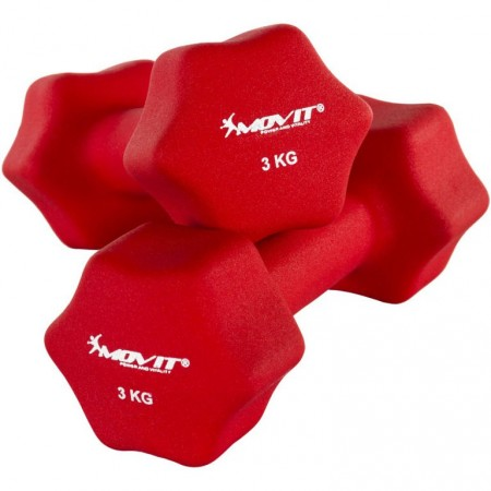 Šestihranné činky s neoprenovým potahem 2x3 kg, červené