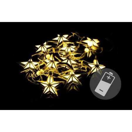 Vánoční světelný LED řetěz - hvězdy, vnitřní, na baterie, 2 m