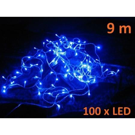 Vánoční světelná dekorace- LED řetěz venkovní / vnitřní, modrý, 9 m