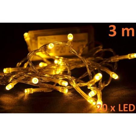 LED řetěz na stromeček vnitřní, teple bílý, 3 m