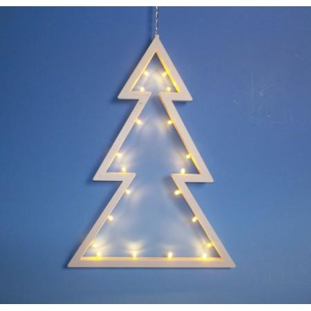 Vánoční svítící stromek do okna / na zeď, LED diody, na baterie, 29,5 cm