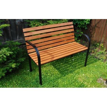 Dřevěná lavice se řeleznou konstrukcí, na zahradu / do parku