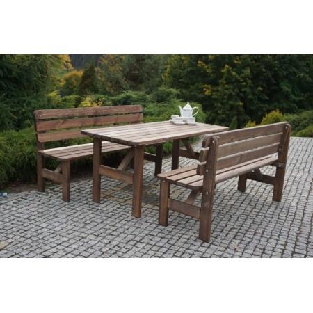 Dřevěná venkovní lavice, mořené borovicové dřevo, 150 cm