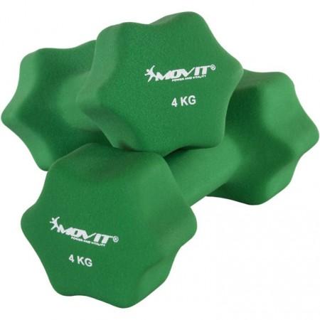 2 ks kovová činka s neoprenovým potahem, 2x4 kg, zelená