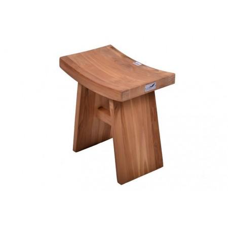 Menší designová stolička se zakřiveným sedákem, týkové dřevo