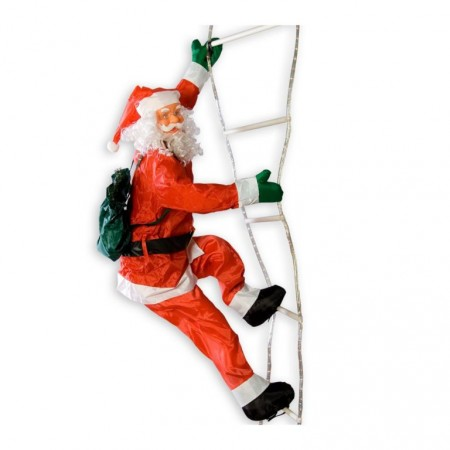 Velký Santa Claus na žebříku, svítící, vánoční dekorace 240 cm