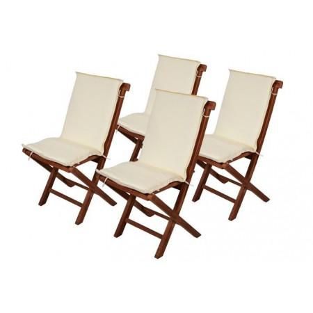 4 ks polstrování na židle, snímatelný, pratelný potah, krémové