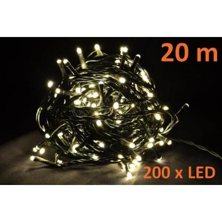Světelný řetěz s LED diodami, vnitřní, teple bílý, 20 m