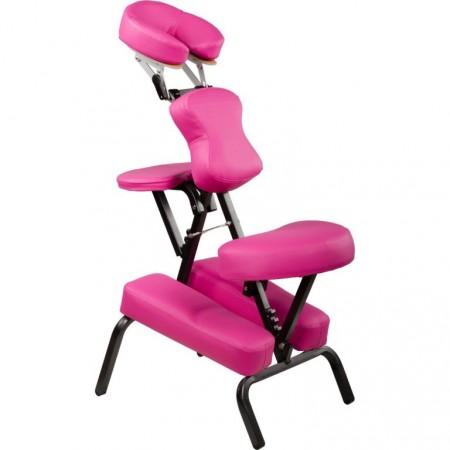Profesionální masážní židle skládací, nosnost 130 kg, růžová