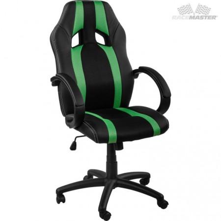 Otočná kancelářská židle, závodní design, černá / zelená