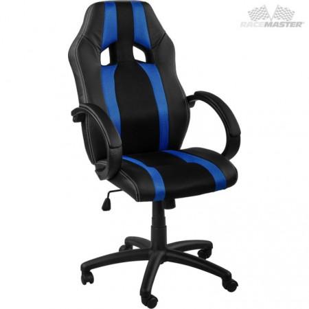 Otočná kancelářská židle, závodní design, černá / modrá