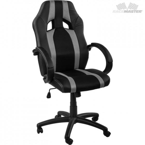 Otočná kancelářská židle, závodní design, černá / šedá