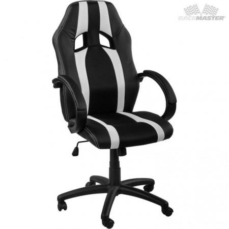 Otočná kancelářská židle, závodní design, černá / bílá