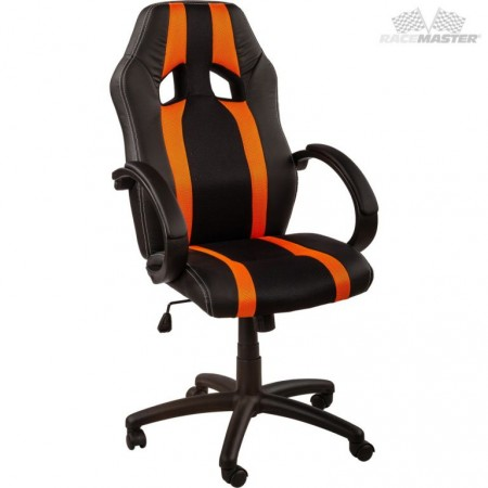 Otočná kancelářská židle, závodní design, černá / oranžová