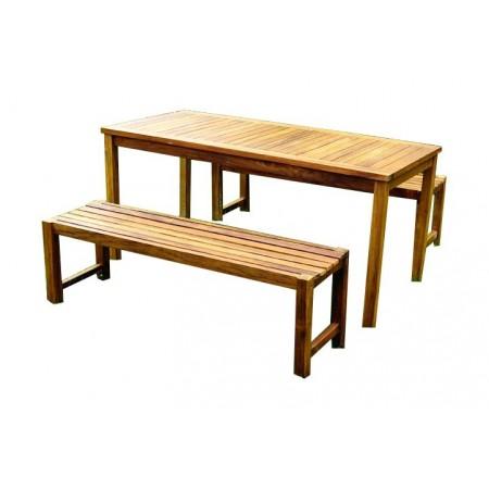Jednoduchá sestava zahradního nábytku, stůl + 2 lavice, akát
