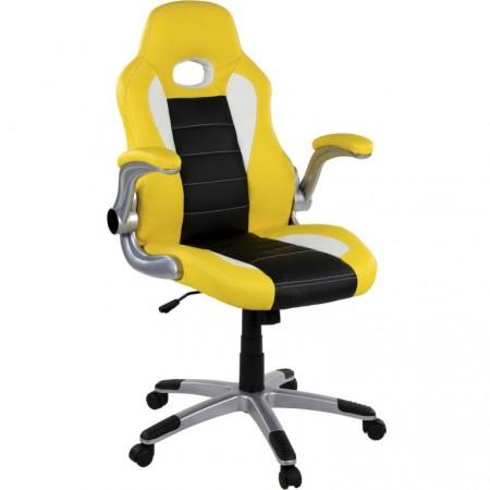 Otočná židle na kolečkách, vzhled sedačky závodního auta, černá / bílá / žlutá