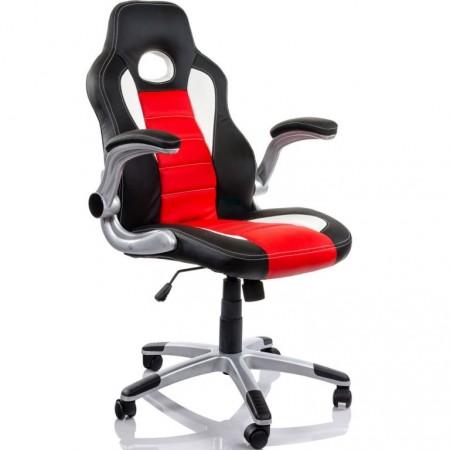 Otočná židle na kolečkách, vzhled sedačky závodního auta, černá / bílá / červená