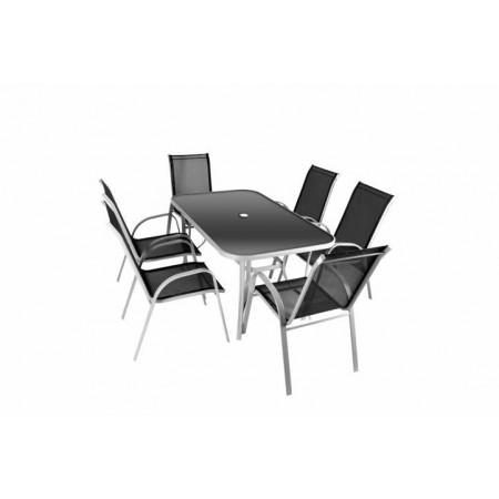 Elegantní sestava zahradního kovového nábytku 7 ks, textilní výplet