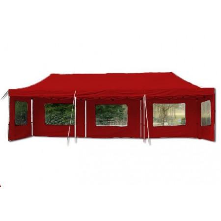 Velký párty stan 3x9 m, nůžková konstrukce, boční stěn s okny, červený