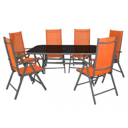 Set kovového zahradního nábytku 7 ks, textilní potah, šedá / oranžová