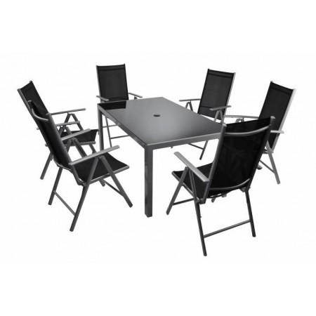 Set zahradního hliníkového nábytku s obdélníkovým stolem 7 ks, šedá / černá