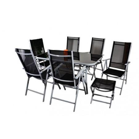 Sestava zahradního hliníkového nábytku 9 ks, textilní potah, šedá / černá