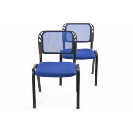 2 ks stohovatelná kovová židle s polstrovaným sedákem, modrá
