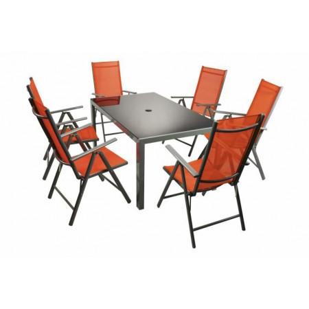Sestava hliníkového zahradního nábytku 7 ks, šedá / oranžová