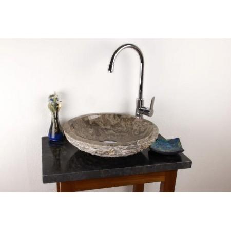 Designové umyvadlo do koupelny z přírodního mramoru, šedé