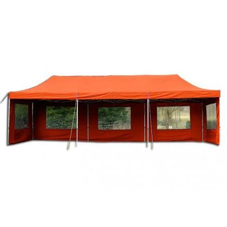 Nůžkový zahradní párty stan s kovovou konstrukcí 3x9 m, terakota