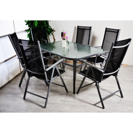 Elegantní kovový zahradní nábytek 7 ks, stůl se skleněnou deskou, šedá / černá