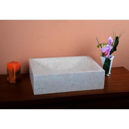 Hranaté obdélníkové umyvadlo do koupelny, přírodní mramor- šedý