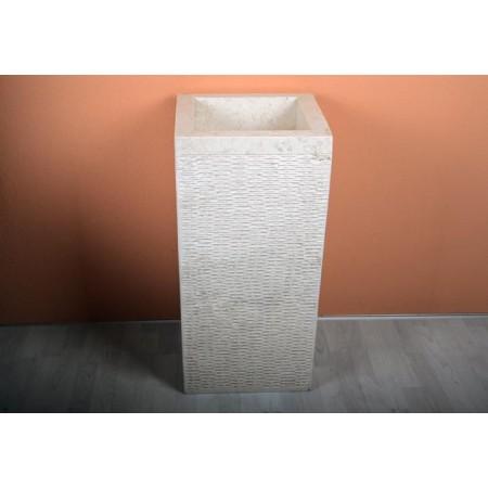 Designové kamenné umyvadlo se stojanem, bílý mramor