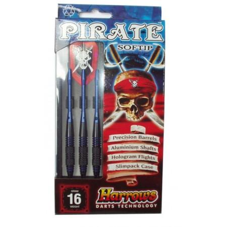 3 ks softové šipky s plastovými hroty 16g, pirate