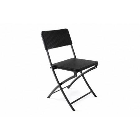 Venkovní židle ratanového vzhledu, skládací, kov / plast