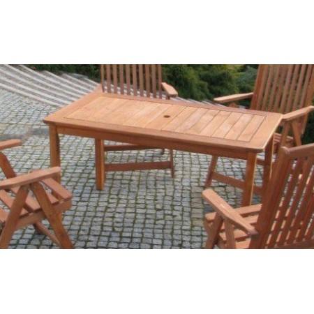 Zahradní dřevěný stůl obdélníkový 130 cm, masiv, mořený