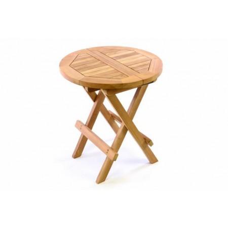 Malý dřevěný skládací stolek- kulatý, teakové dřevo