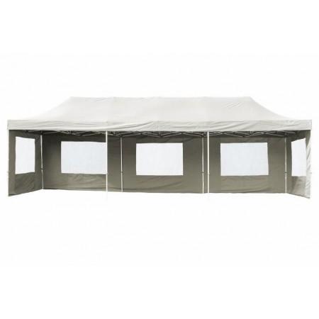 Velký párty stan s kovovou konstrukcí 3x9 m, boční stěny s okny, bílý