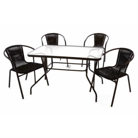 Sada zahradního nábytku, židle s výpletem+ stůl se skleněnou deskou