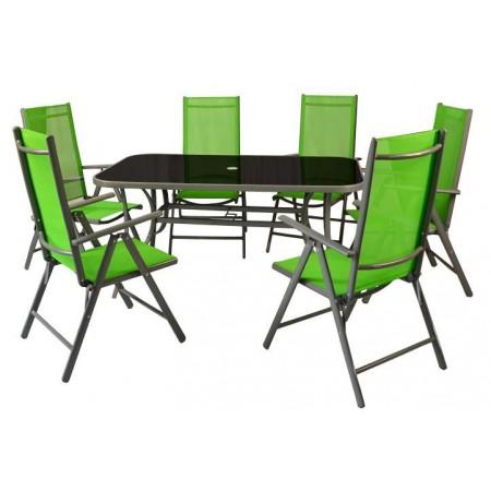 Hliníkový zahradní nábytek 7 ks, textilní výplň, zelený