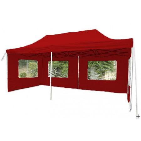 Velký párty stan 3x6 m, nůžkový, boční stěny s okny, červený