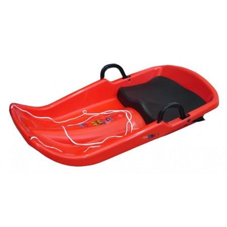 Dětské plastové boby se sedátkem a brzdami, červené