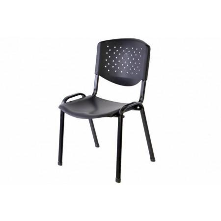 Kovová židle s plastovým sedadlem a opěradlem, černá
